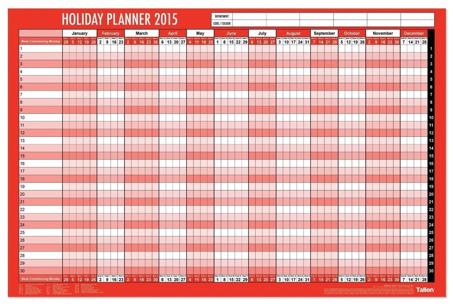 2015 wall holiday year planner a1 size laminated with pen