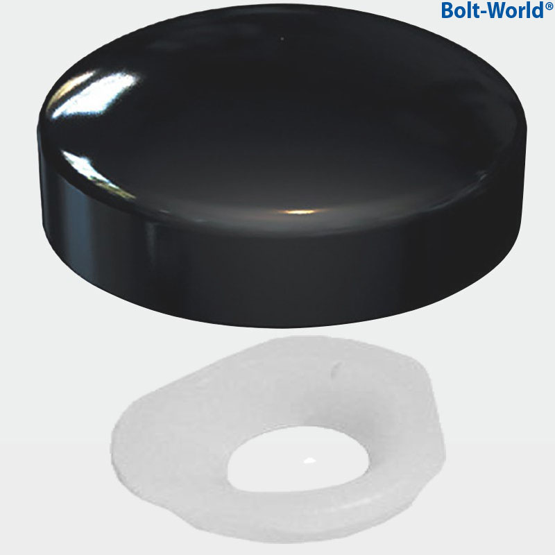 Black two piece gloss dome screw snap on caps covers