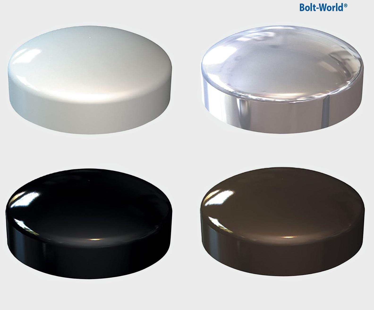 Plastic dome screw cover cap chrome white black brown